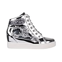 Womens Studded Concealed Wedge Trainers Sneakers High Tops Ankle Boots Shoes