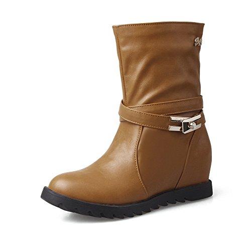 VogueZone009 Damen Niedrig-Spitze Eingelegt Ziehen auf Rund Zehe Mittler Absatz Stiefel, Rot, 41