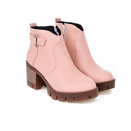 Balamasa Girls Buckle Square Heels Gear Bottom Imitación Cuero Botas Rosa