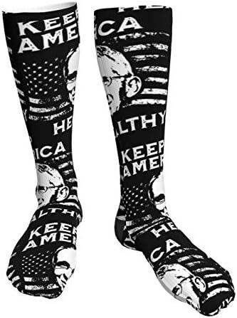 Unisex Kousen Dr Anthony Fauci houden Amerika gezonde sport dikke zwarte hoge hak sokken knie tot dij