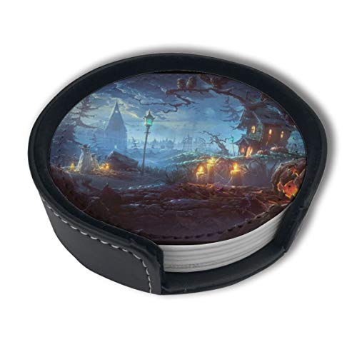 PDUOW Halloween Themed Wallpaper Coasters for Drinks,PU Leather Coasters with Holder,Protect Furniture from Damage(6PCS)]()
