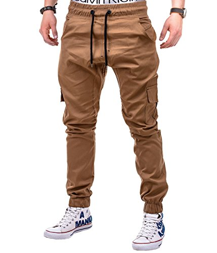 BetterStylz MasonBZ Cargo Chino Jogger Pants Harem Style Trousers in various Colors (S-XXXL) (XXX-Large, Camel)