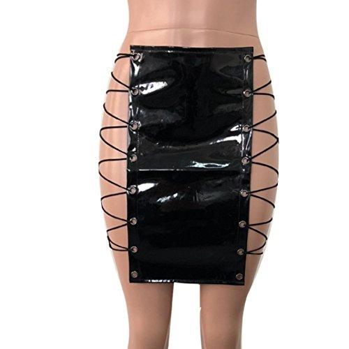 A Vita Festa Alta Pelle Da nbsp; Moda SamMoSon Skirt Mini Sexy nbsp; Donna Uniforme nbsp; Gonna Vestito Bendare Ragazze Nero Pieghe UPxBwq7v