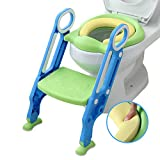 Mangohood Potty Toilet Training Seat with Step Stool Ladder for Boy and Girl Baby Toddler Kid Children's Toilet Trainer Seat Chair (Blue+Green Update PU Cushion)