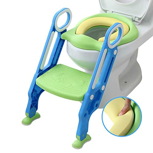 (Mangohood Potty Training Toilet Seat with Step Stool Ladder for Boy and Girl Baby Toddler Kid Children's Toilet Training Seat Chair with Sturdy Non-Slip Wide Step (Blue Green Update Pu Cushion) )