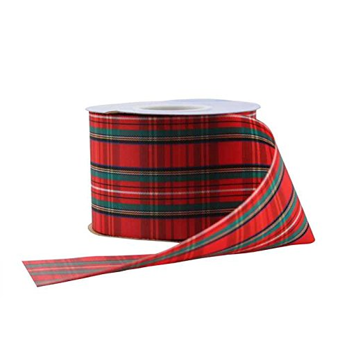 Berwick Offray Stewart Plaid Ribbon-7/8 Wide X 25 Yards-Red Ribbon