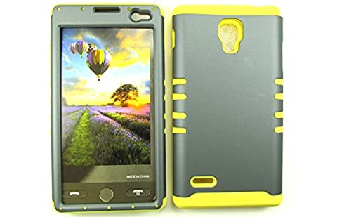 LG OPTIMUS L9 CASE GRAY YE-A008-AD HEAVY DUTY HIGH IMPACT HYBRID COVER YELLOW SILICONE SKIN P769 (Lg L9 Music Case)