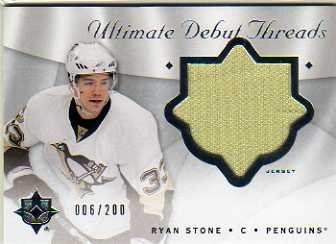 - 2008-09 Ultimate Collection Debut Threads #DTRS Ryan Stone Jersey Card Serial #'d/200 - Penguins