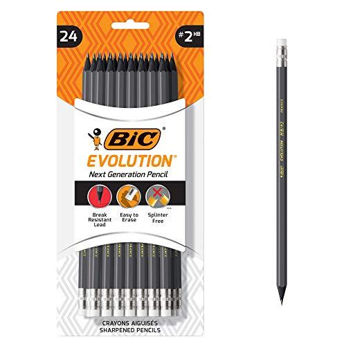 BIC Evolution Cased Pencil, #2 Lead, Gray Barrel, 24-Count