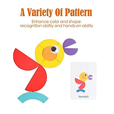 kizh Wooden Pattern Blocks Animals Jigsaw Puzzle Sorting Stacking Games Preschool Montessori Brain Teaser STEM Toy for 3 4 5 Years Old Toddlers Kids Boys Girls 36Pcs Blocks and 60 Design Cards: Toys & Games