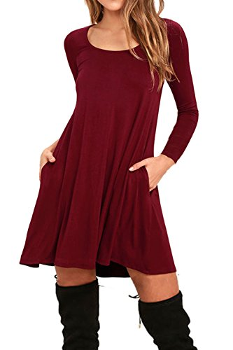 AUSELILY Women's Pockets Casual Swing T-shirt Dresses (M, 10-Long Sleeve-Wine Red)