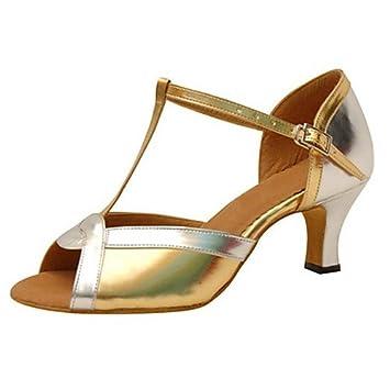 Q Zapatos Charol Baile T Mujer t Tacón Principiante Acanalado De qMpUVSz