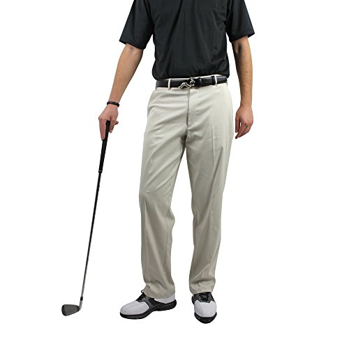 Palm Springs Golf Men's Dryfit Flat Front Pant, 34/33, Cream