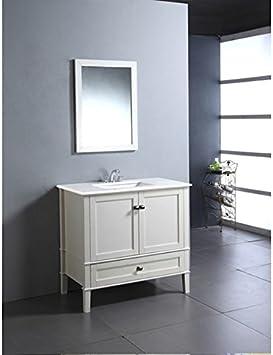 Amazon Com Wyndenhall Windham Soft White 36 Inch Modern Bath Vanity With 2 Doors Bottom Drawer And White Quartz Marble Top Furniture Decor