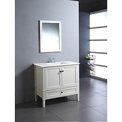 Amazon Com Wyndenhall Windham Soft White 36 Inch Modern Bath Vanity