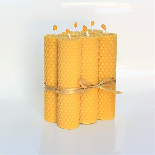 100% Beeswax Pillar Candles Set of 6 Size 5.11 x 1.18 in (13 x 3 cm) Eco Candles Hand Rolled Natural and Lovely Beeswax/Honey Scent 100% Handmade