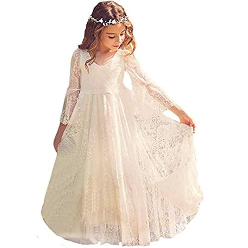 Ivory Flower Girl Lace Dress Long Sleeves Children Baptism Dress First Communion Dress for 2-15T (10-11T) ()