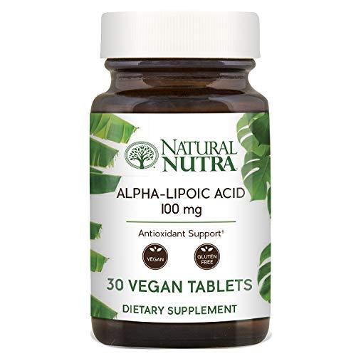 Natural Nutra R-Alpha Lipoic Acid (Alfa-Lipoic), with R-Fraction ALA, Antioxidant and Blood Sugar Support, 100 mg, 30 Vegan and Vegetarian Tablets