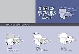 Maytex Collin Stretch 4PC Slipcover Black Recliner