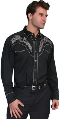 P-634-WHT Scully Men/'s White Embroidered Gunfighter Shirt