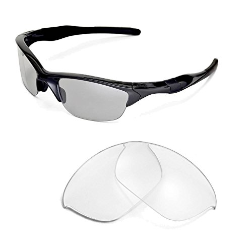 Walleva Replacement Lenses for Oakley Half Jacket 2.0 Sunglasses - Multiple Options Available (Clear) (Jacket Oakley Lenses Half)