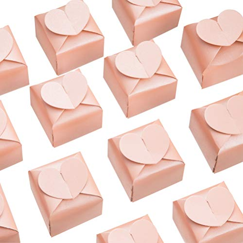 AWELL Pink Favor Box Bulk 2.5x2x2.5 inches with Heart Bow Party Favor Box,Pink,Pack of -