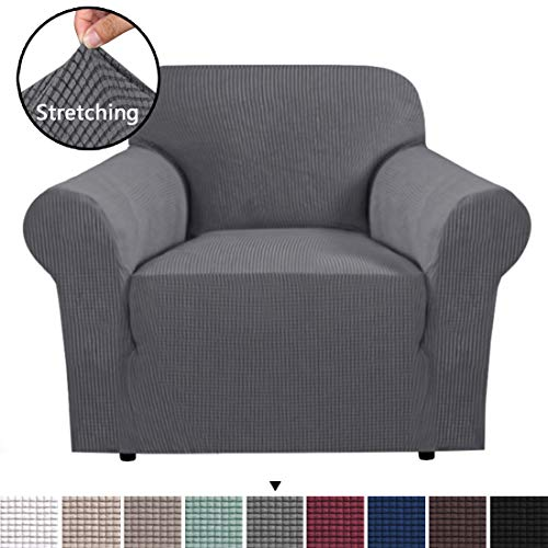 H.VERSAILTEX Stretch Chair Slipcover Sofa Cover Furniture Protector Cover Luxury Lycra High Spandex Small Checks Knitted Jacquard Sofa Cover Chair Covers for Living Room (Chair-1 Seater, Grey) (Slipcovers For Living Room Chairs)