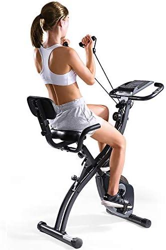 MaxKare Folding Magnetic Upright Exercise Bike w Pulse Sensor LCD Monitor Indoor Cycling Bike Stationary Bike Recumbent Exercise Bike