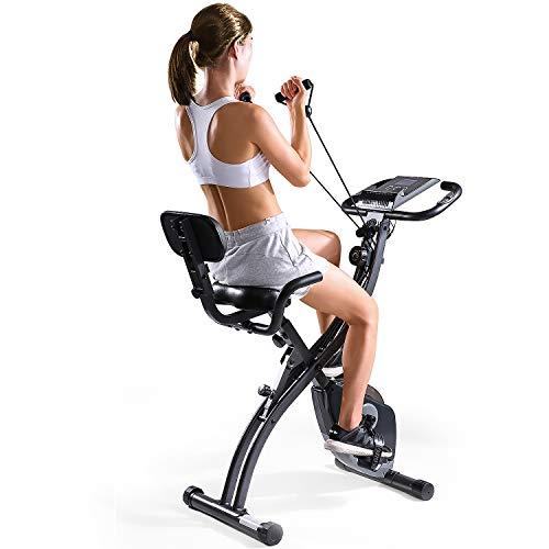 MaxKare Folding Magnetic Upright Exercise Bike w/Pulse Sensor/LCD Monitor Indoor Cycling Bike Stationary Bike Recumbent…