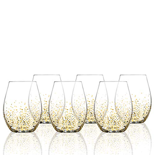 Fitz and Floyd Stemless Wine Glass Set of 6 - Elegant Lead-free Matching Drinkware Perfect For Everyday Use Or Entertaining - Stylish Modern Glasses Make An Ideal Gift For Weddings, Birthdays, Holiday -