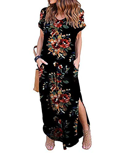 (Kidsform Short Sleeve Maxi Dress for Women Casual Loose Floral Print V Neck Side Slits Summer Cotton Stretchy Party Beachwear Pockets C-Black Peony Large)