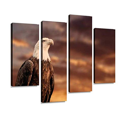 Portrait of a Proud American Bald Eagle in Front of a Sunset Sky. Canvas Wall Art Hanging Paintings Modern Artwork Abstract Picture Prints Home Decoration Gift Unique Designed Framed 4 - Portrait Bald Eagle