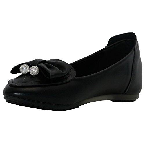 AllhqFashion Damen Rein Mattglasbirne Ohne Absatz Ziehen auf Spitz Zehe Flache Schuhe, Schwarz, 39
