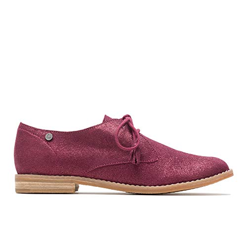 (Hush Puppies Chardon Oxford Women 7 Burgundy Metallic Suede)