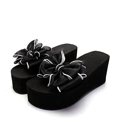 Alla trentasette spiaggia Antiscivolo Tow Pantofole scarpette 38 Fondo Donna Moda 8cm Scarpe spesso Sandali pendenza Da Le Ajunr Mo Fiori tacco di nere wt1q6f4nxC
