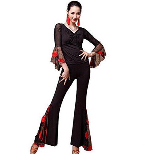 Pieces Pants Latin Ladies 2 stage Red Clothing tops Dance And Performance Practice cvxwZqx8O6