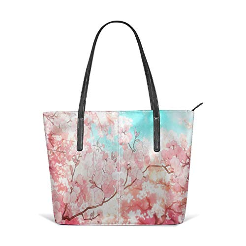 - Beach Tote Bags Travel Totes Bag Shopping Zippered Tote for Women Foldable Waterproof Overnight Handbag - Pink Cherry Blossom