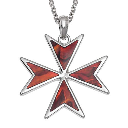 BellaMira 925 Sterling Silver Rose Gold Cross Necklace - Guardian Angel Wings Faith Religious Christian Catholic Jewelry in Gift Box (Maltese Cross - Red Abalone)