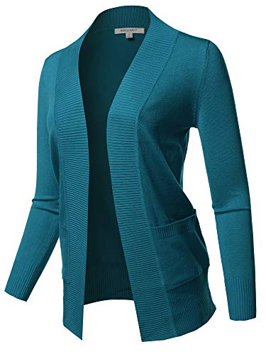 Awesome21 Basic Long Sleeve Rib Banded Open Front Cardigan Teal Size 2XL