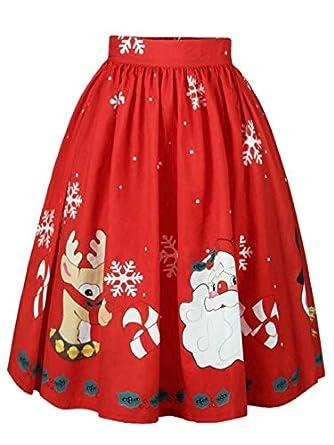 ASHOP Vestido Mujer Sexy Navidad Santa Copo de Nieve Impreso una ...