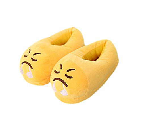 DELEY Unisex Cartoon Emoji Slippers Winter Warm Creative Expression Plush Home Shoes Angry xEYRK1F