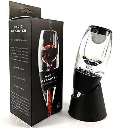 Yisily Aireador de Vino Decantador de Acrílico Vertedor Y Filtro de Respiradero de Vino con Soporte de Exhibición - Negro
