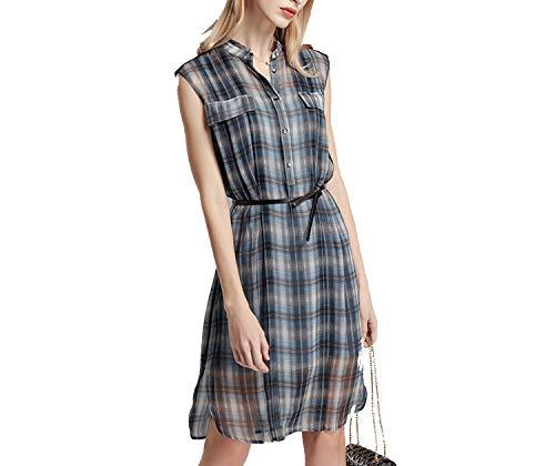 (Summer Women's Silk Dress Slim Plaid Silk Long Skirt,Gray,M)