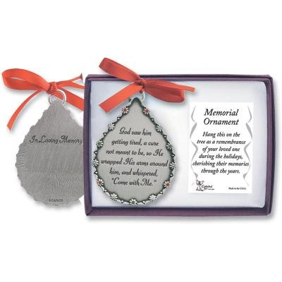 (Cathedral Art CO514 God Saw Him Getting Tired Teardrop Memorial Ornament, 2-3/4-Inch )