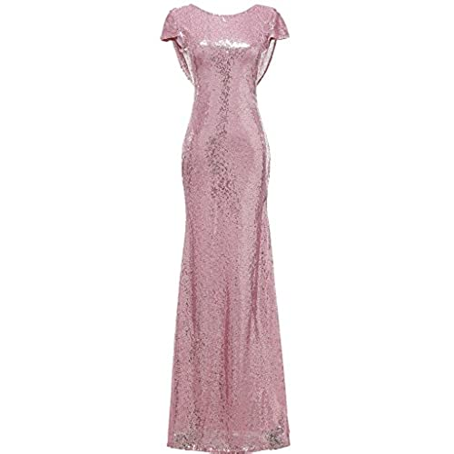 SOLOVEDRESS Womens Mermaid Sequined Long Evening Dress Formal Prom Gown Bridesmaid Dresses (US 6,Pink)