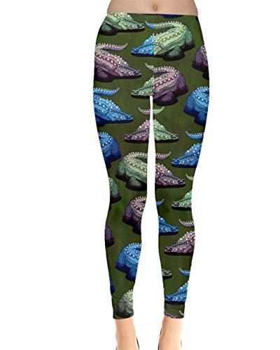 CowCow Womens Crocodile Green Paint Print Stretchy Leggings - M