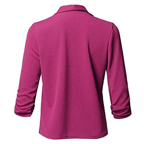 Blusa Roja Top Negocios Parte Cardigan Elegante Slim Chaqueta Blazer Manga 4 Plunge Traje Rosa Mujer 3 Fit De Oficina Outwear Abrigo wqBFURTS