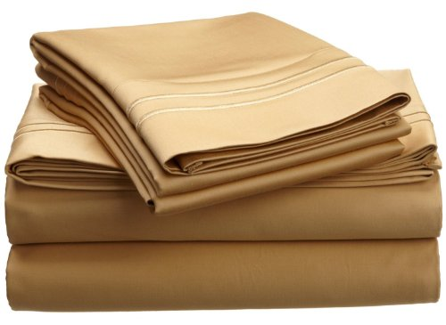 800 Thread Count, 100% Egyptian Cotton, Single Ply, Deep Pocket Sheet Set, King, Gold with Gold Embroidery
