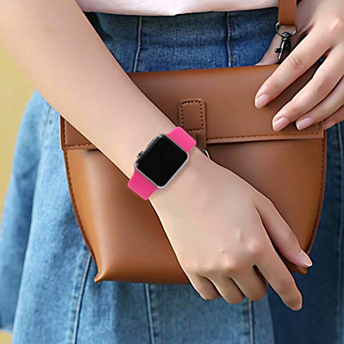 YANCH Compatible with for Apple Watch Band 40mm 38mm, Soft Silicone Sport Band Replacement Wrist Strap Compatible with for iWatch Series 4/3/2/1,Nike+,Edition,M/L,Barbie Pink