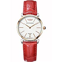 BRIGADA Cute Ladies Dress Quartz Wrist Watches for Women Girls Nice Fashion Swiss Brand Waterproof Red Leather Band Watches for Women